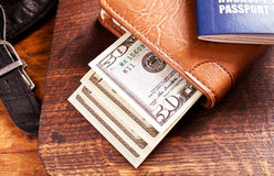 Money and international passport Stock Images