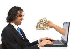 Money from internet Stock Images