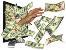 Money from internet. Many people got rich from the internet even money overflow Royalty Free Stock Photography