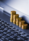 Money into internet Stock Photos