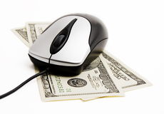 Money and internet. On a white background Royalty Free Stock Photography