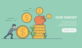 Money invest flat linear . Businessman rolli. Money invest flat linear web infographic concept  banner slider. Businessman rolling gold dollar coin. Monetary Stock Image