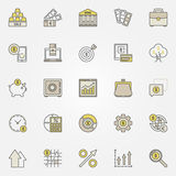 Money and investment colorful icons Royalty Free Stock Image