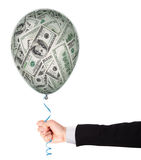 Money investment concept with balloon. Money investment concept - balloon full of  dollars Stock Images