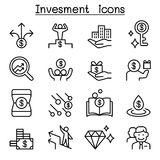 Money & Investment icon set in thin line style. Vector illustration graphic design Royalty Free Stock Images