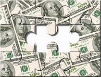 Money investment puzzle. Money puzzle missing one - We need you to join us Stock Image