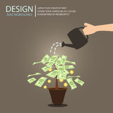 Money investment. Money saving and investment concept, Can be used for business background, web design, brochure template, advertising. Vector illustration Stock Photo