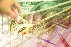 Money investment and stock graph of stock market. Double exposure of money investment and stock graph of stock market Royalty Free Stock Photography
