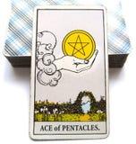 Ace of Pentacles Tarot Card Money Investments Saving Abundance Prosperity. Money Investments Saving Abundance Prosperity Health New Business New Job Windfall stock illustration