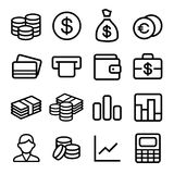 Money ios 7 icon set. Money and coin icon set in ios7 style. Vector illustration Royalty Free Stock Image