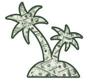 Money on an island. Little island full of money Stock Image