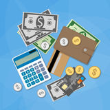 Money items set. Set of financial money items. Calculator, silver gold coins, dollar cash, credit card, wallet. vector illustration in flat design on blue Royalty Free Stock Photography