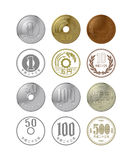Money of Japan. Illustrations of money of various Japan Stock Image