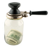 Money and Jar Royalty Free Stock Images