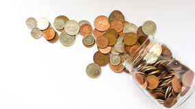 Money jar. Emptied over white background Royalty Free Stock Photo