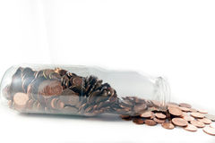 Money jar. Jar of glass full of euro banknote billet and coins stock photography