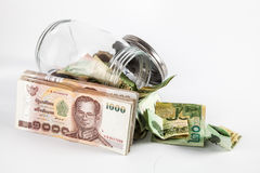 Money jar with isolate white background Stock Photos