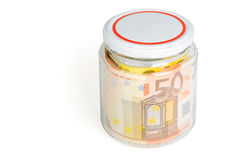 Money in the jar isolated on white background Stock Photography