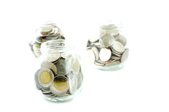 Money jar with thai coin Royalty Free Stock Photos