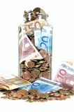 Money Jar With Euro Currency Royalty Free Stock Image