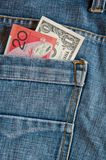 Money in jean pocket Stock Photos