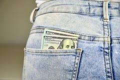 Money in Jean Pocket Stock Photo