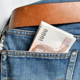 Money in Jean Stock Images