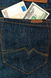 Money in jeans hip pocket Stock Photos