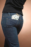 Money in jeans pocket Stock Photos