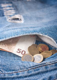 Money in a jeans pocket, Stock Image