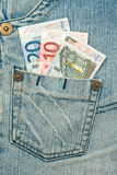 Money in the jeans pocket - Euro Royalty Free Stock Photos