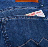Money In Jeans Pocket Royalty Free Stock Photo