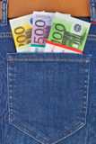 Money in jeans pocket Royalty Free Stock Images