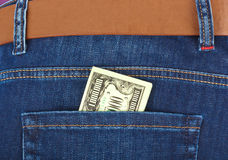 Money in jeans pocket Royalty Free Stock Photos