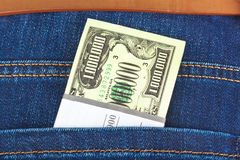 Money in jeans pocket Stock Photography