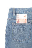 Money and jeans Stock Photography