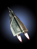 Money jet. 100 dollar bill concept for rising financial costs, flying commercial, soaring wealth ,dreams, investments ,rising dept ,technology ,economic Stock Image