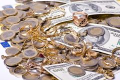 Money and jewels Royalty Free Stock Photos