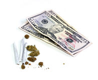 Money with joints and pot Stock Image