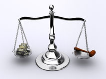 Money or justice Royalty Free Stock Photo