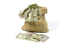 Money in Jute Bag Isolated on White Stock Photos