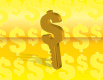 Money key. Over a yellow background  illustration Stock Images