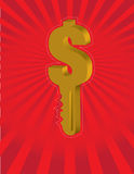 Money key. Over a red star background Royalty Free Stock Photos