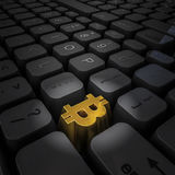 Money key bitcoin. 3D illustration of computer keyboard with gold bitcoin symbol key Stock Photos