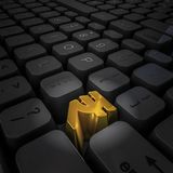 Money key rupee. 3D illustration of computer keyboard with gold rupee key Royalty Free Stock Photo