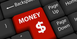 Money on keyboard Enter Royalty Free Stock Image