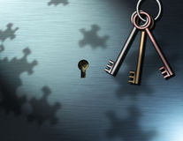 The Money Keys. Multicolored keys hang near a keyhole, through the keyhole some money can be seen, puzzle piece shadows are cast upon the surface Stock Illustration