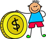 Money kid. Little boy holding dollar coin - toddler art series Royalty Free Stock Image