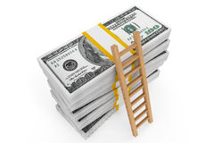 Money with ladder. Stacks of dollars with a ladder on a white background stock illustration