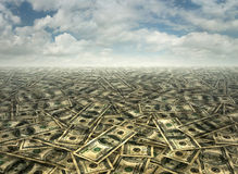 Money Landscape- Hundreds and Fifties Royalty Free Stock Photography